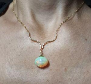 Ethiopian Super Fire cabochon 7ct Opal solid 14k gold chain necklace pendant