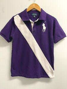 Ralph Lauren BOYS L(14-16) Polo Shirt Big Pony Purple White Diagonal Stripe Logo