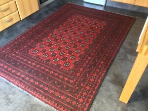 AFGHAN RED 2, 8' x 5', BRAND NEW,  FABULOUS, LARGE, HAND KNOTTED...FREE DEL.