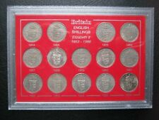 UK British 1953~1966 Queen Elizabeth II ~ English Shilling 14x Coin Set ~ Cased