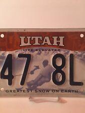 Utah License Plate - GREATEST SNOW ON EARTH - Life Elevated Ski Utah D47 8LF