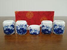 1set 5pcs Asian Bamboo Blue Bird Cage Set Flower ceramics Cup 陶瓷鸟食�