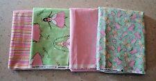10 Yards Mixed Lot Quilt Fabric - PRINCESS BUTTERFLIES STRIPES STARS PINK GREEN