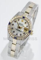 Rolex Ladies Datejust Gold & Steel MOP Sapphire Diamond Dial & Bezel Oyster 6917