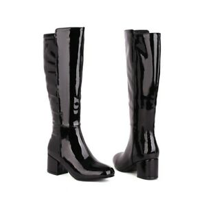 Women's Wedding Square Toe Chunky Heel Mid-Calf Knee High Boots Shoes Western D