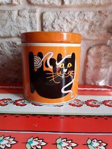 """Ancienne Boite Ronde Publicitaire """" Colle Scotch """" Chat Orange Vintage 70's"""
