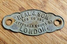 Vintage NEAL & SON Tottenham Court Road London Brass Name Plate