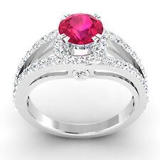 Neues AngebotRund 1.34 CT Natürlich Diamant Rubin Ring Massiv 14K Weiss Gold