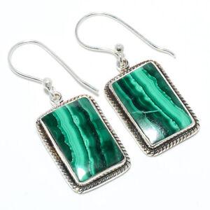"Malachite - Congo 925 Sterling Silver Bali Earring Jewelry 1.40"" F2543"