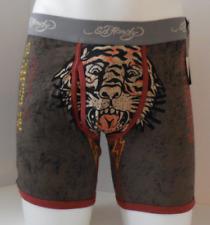 Ed Hardy Men's Cotton Premium Boxer Brief Tiger Charcoal Tattoo Print Size Small
