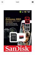 SanDisk extreme Pro 64GB 100MB/S SD MicroSDXC UHS-I U3 A1 V30
