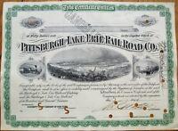 Pittsburgh & Lake Erie Railroad Co. 1910 Stock Certificate - Three Vignettes