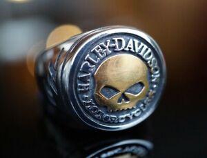 Harley Davidson Biker Ring Willie G Skull Emblem Silbern Gold Schmuck 8-14 NEU