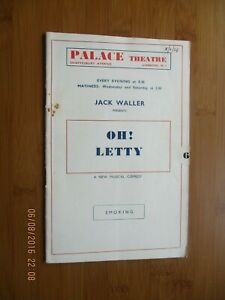 1938 PALACE THEATRE OH LETTY PROGRAMME PATRICIA LEONARD PHYLLIS STANLEY