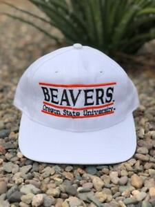 DEADSTOCK NWT VTG 90s White The Game Split Bar Oregon State Beavers Hat Cap