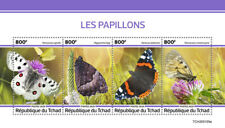 Chad Butterflies 2020 MNH Red Admiral Butterfly Insects Fauna 4v M/S