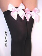 Black opaque hold ups with WHITE bow