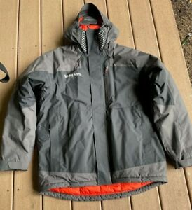 NEW Simms Challenger Insulated Jacket Black - Large / Orange Lining