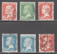FRANCE STAMPS #188-193   (6) PASTEUR VALUES   1920s    USED