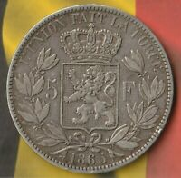 "1865 Belgium 5 Francs~ 90% AG-RARE Large (Leopold I) Head & Broken ""M"" VARIATION"