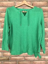 T By Talbots Long Sleeve Green Casual Top Women's Size Large-drawstring Neck