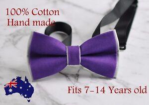 Boy Teenage 100% Cotton Purple and Grey Bow Tie Bowtie Wedding 7-14 Years Old