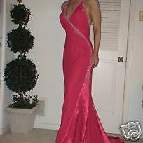 Coral Pink Party Time Pageant Evening Halter Full Length Gown 10