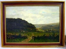 Axel Wilhelm Nordgren 1828-1888 Norwegische Landschaft mit Dorf Öl auf Leinw.