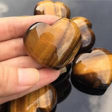1Pcs Natural Tiger's-Eye Stone Crystal Carved Heart Shaped Palm Healing Gemstone