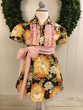 HOPSCOTCH KIDS MOXIE & MABEL Brown Yellow Orange Pink Floral Dress ~ Size 4 ~