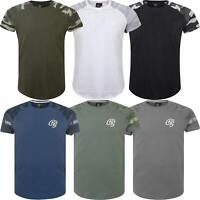 Mens Crosshatch Camo Contrast Sleeve T Shirt Branded Raglan 2019 Top Army Tee
