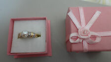 18ct Yellow Gold Freshwater Pearl & Diamond Ring Size M 1/2