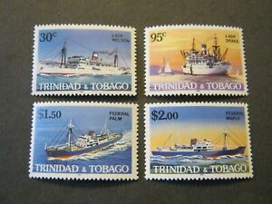 TRINIDAD & TOBAGO  1985 SHIPS  SET of 4 STAMPS  SG676-9  MINT NEVER HINGED