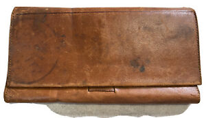 """1800s Antique Supple Folding Leather Wallet  Nice! """"Webster Hotel - Henry Lange"""""""