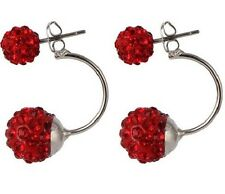 STAINLESS STEEL DOUBLE SHAMBALLA CRYSTAL BALL RED EARRINGS 12MM
