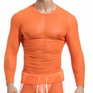 Men Long Sleeve T-Shirt See-through Base Layer Tee Top Gym Mesh Shirt Activewear