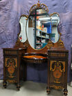 ANTIQUE VANITY with MIRROR Wooden Casters OVER 100 YEARS OLD