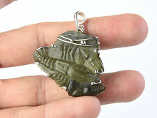 Moldavite CANCER PENDANT SILVER.925 HAND CARVED = 9.78g #AGPEND1351