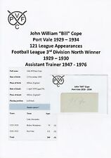 BILL COPE PORT VALE 1929-1934 RARE ORIGINAL HAND SIGNED CUTTING/CARD
