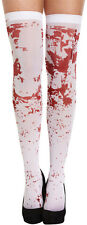 WHITE BLOOD STAINED STOCKINGS HOLD UPS HALLOWEEN FANCY DRESS