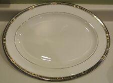 """NEW Lenox Vintage Jewel 16"""" Oval Serving Platter Platinum Gold Black Banded"""
