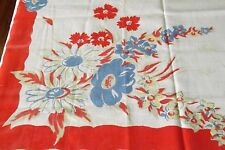 "Vintage Tablecloth Printed Daisy Red Flowers Blue Cotton 44x46"" NIce"