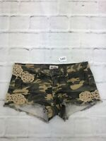 Mudd Womens Low Rise Regular Fit Camouflage Multicolor Denim Shorts Size 7