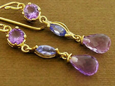 E060- Lovely 9ct SOLID Yellow Gold NATURAL Amethyst & Tanzanite Drop Earrings