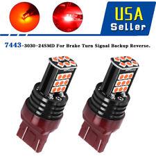2X 7443 Pure RED 3030 24SMD LED Brake/Tail/Rear Turn Signal Blinker Light Bulb