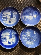 Bing And Grondahl Copenhagen Porcelain Blue 4 Plate 2-1971,1-1972, 1-1983