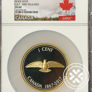 2017 NGC PF 69 First Releases $1C 5 oz Rock Dove Gilt Silver Canada Coin