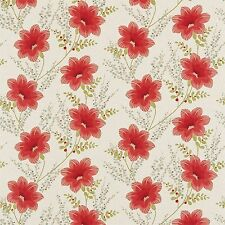 1 MTR HARLEQUIN CONSTANCE FLORAL RED/NEUTRAL GOLD/METALLIC