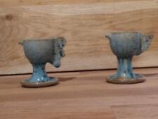 Studio Pottery Hen/Rooster Egg Cups - Signed - Vintage ?