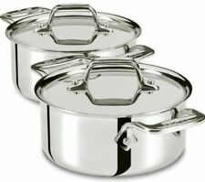 New All-Clad Pair of 1/2 quart Mini-Cocottes with Lids- Oven to Table Msrp $129